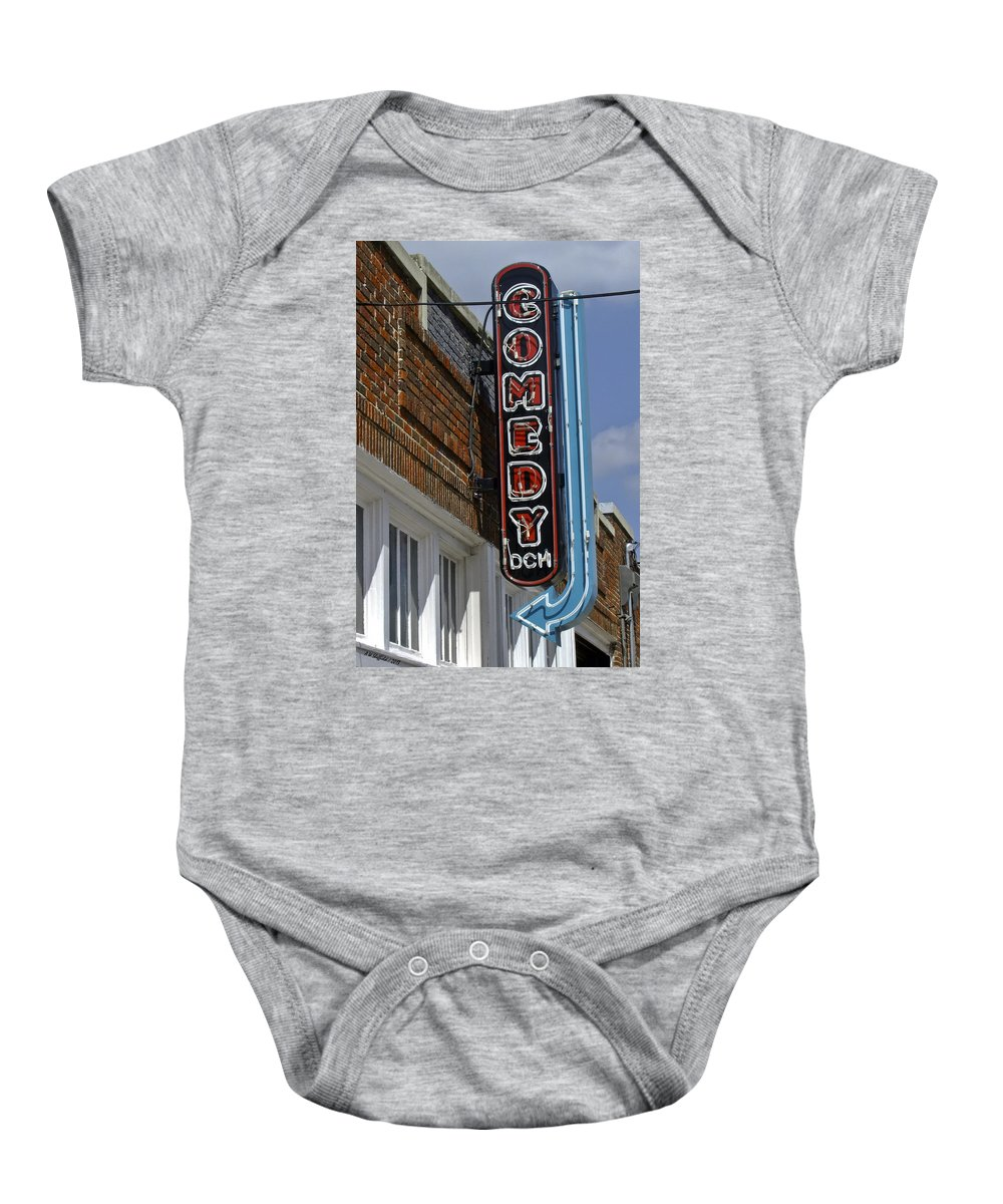 Street Scene Baby Onesie featuring the photograph Comedy House Sign In Deep Ellum by Allen Sheffield