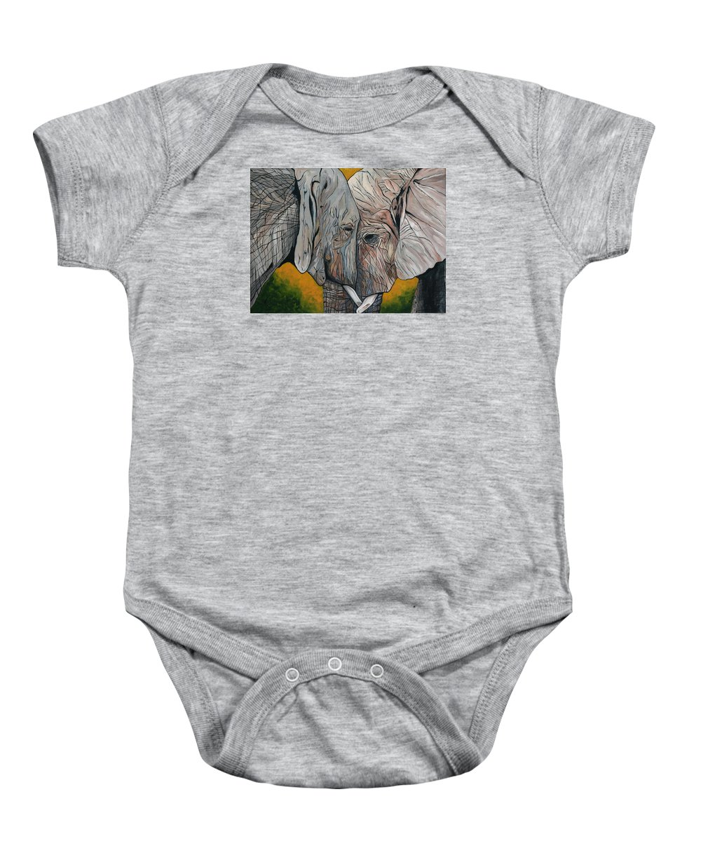 Elephant Baby Onesie featuring the painting Comfort by Aimee Vance