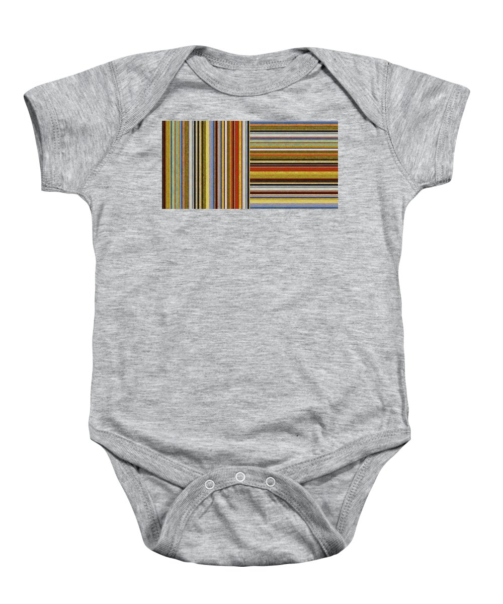 Textural Baby Onesie featuring the painting Comfortable Stripes Lx by Michelle Calkins