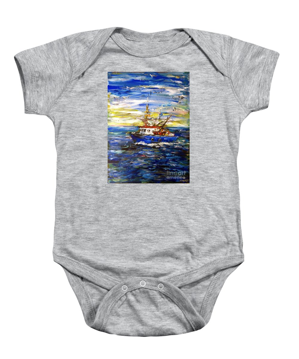 Fishing Boat Baby Onesie featuring the painting Coming Back by Arturas Slapsys