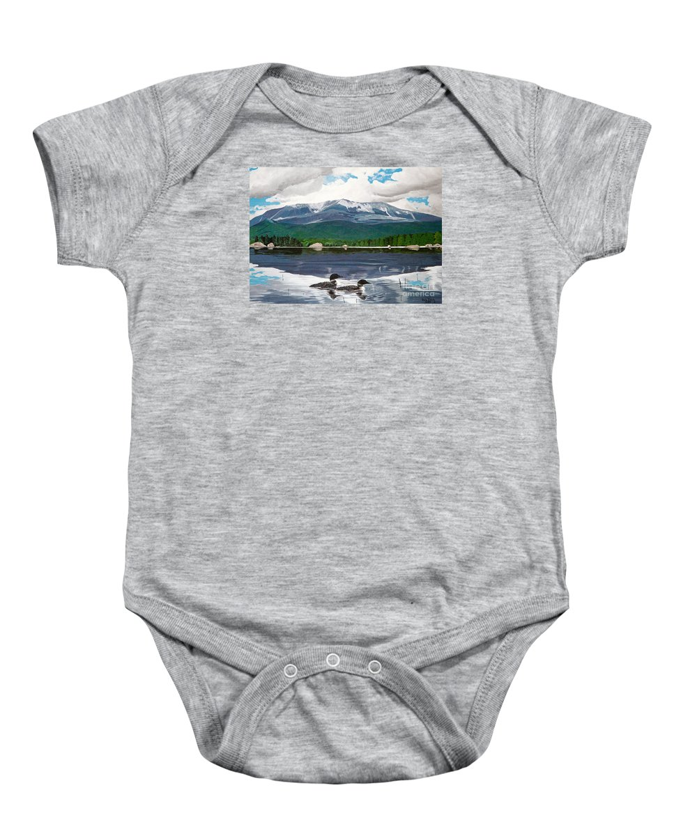 Mountain Framed Prints Baby Onesie featuring the painting Common Loon On Togue Pond By Mount Katahdin by Stella Sherman