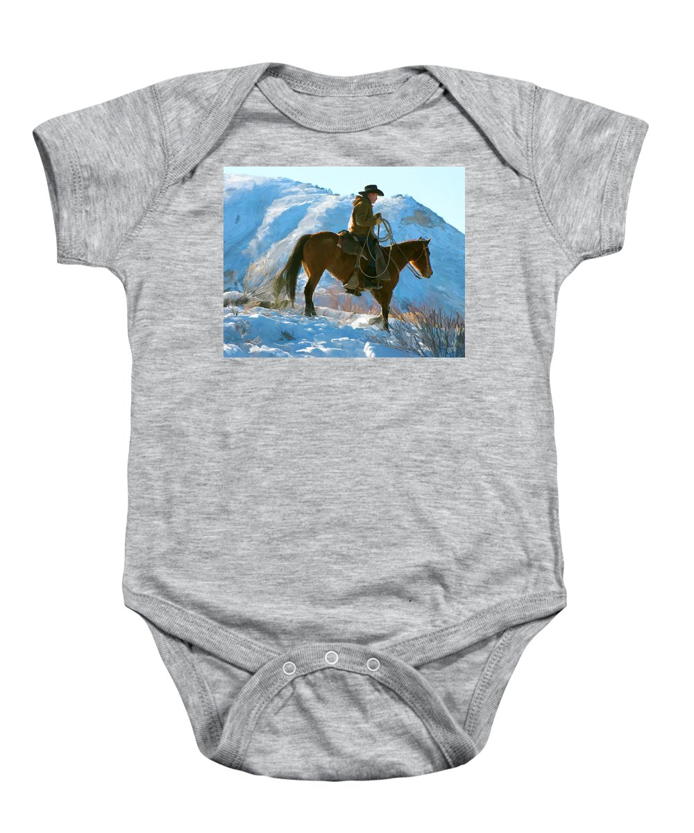 Man Baby Onesie featuring the painting Companions by Paul Tagliamonte