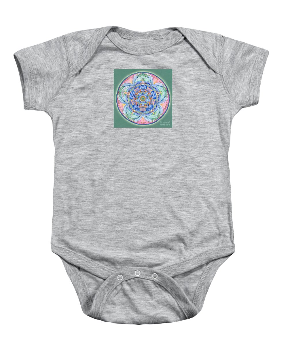 Mandala Art Baby Onesie featuring the painting Compassion Mandala by Jo Thomas Blaine