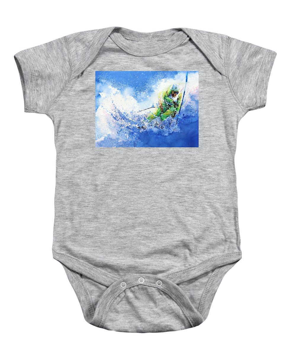 Olympic Sports Baby Onesie featuring the painting Competitive Edge by Hanne Lore Koehler