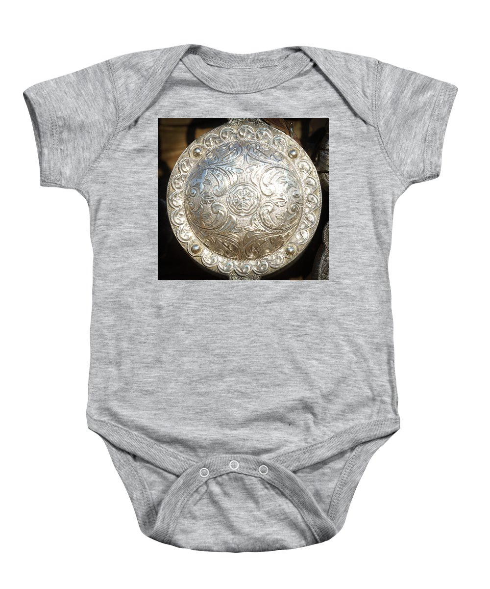 Western Tack Baby Onesie featuring the photograph Concho by Diane Bohna