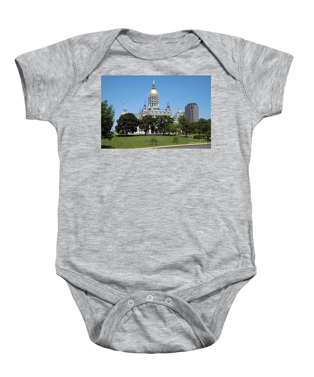 Building Baby Onesie featuring the photograph Connecticut State Capitol Hartford by Bill Cobb