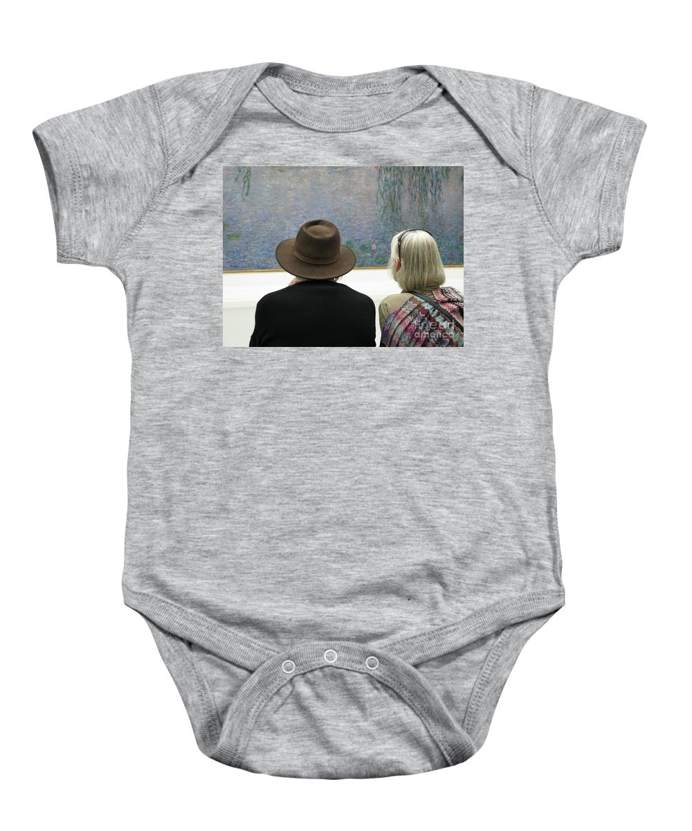 People Baby Onesie featuring the photograph Contemplating Art by Ann Horn