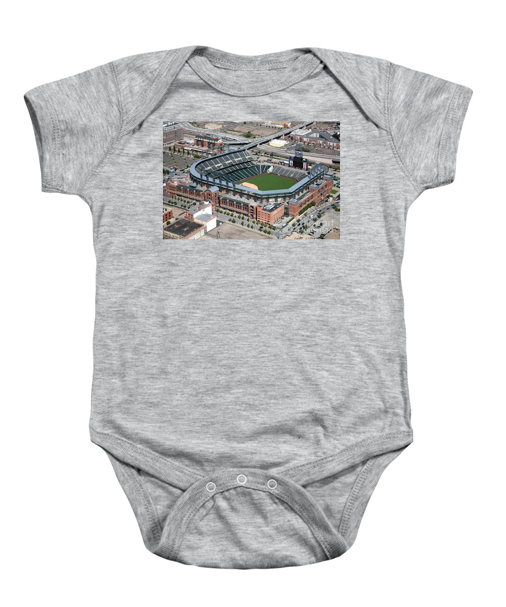 Colorado Baby Onesie featuring the photograph Coors Field Denver by Bill Cobb