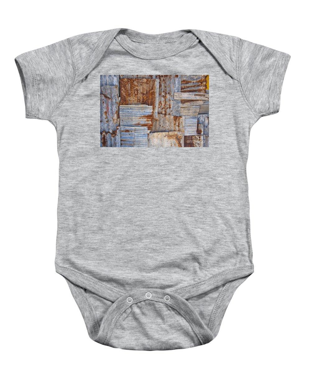 Iron Baby Onesie featuring the photograph Corrugated Iron Background by Antony McAulay