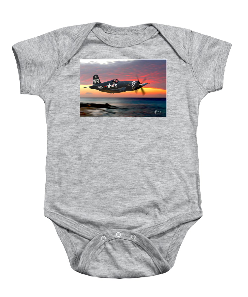 F4u Baby Onesie featuring the photograph Corsair At Sundown by Craig Purdie