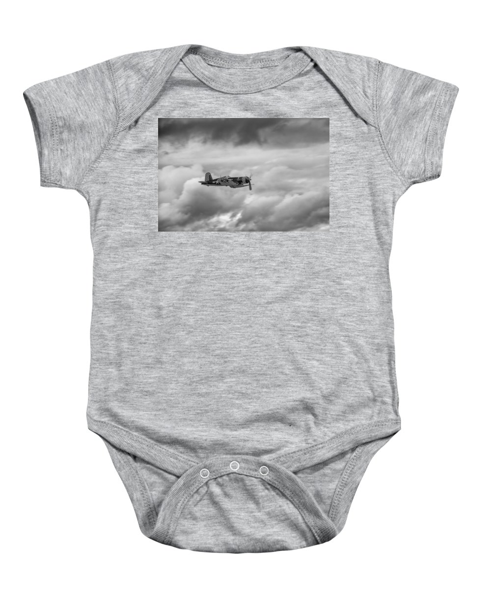 Aviation Baby Onesie featuring the photograph Corsair In The Clouds  7d015 by Guy Whiteley