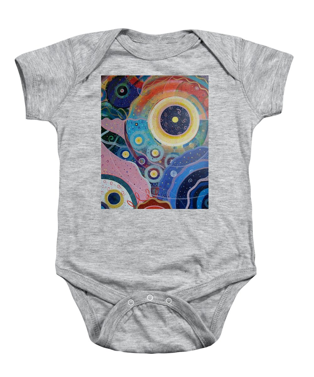 Circles Baby Onesie featuring the painting Cosmic Carnival Vl Aka Circles by Helena Tiainen
