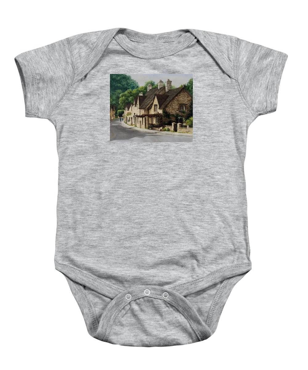 Architecture Baby Onesie featuring the painting Cotswold Street by Mary Palmer