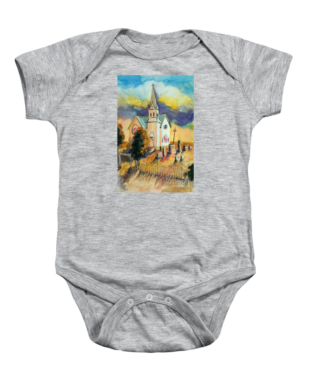 Paintings Baby Onesie featuring the painting Country Church At Sunset by Kathy Braud