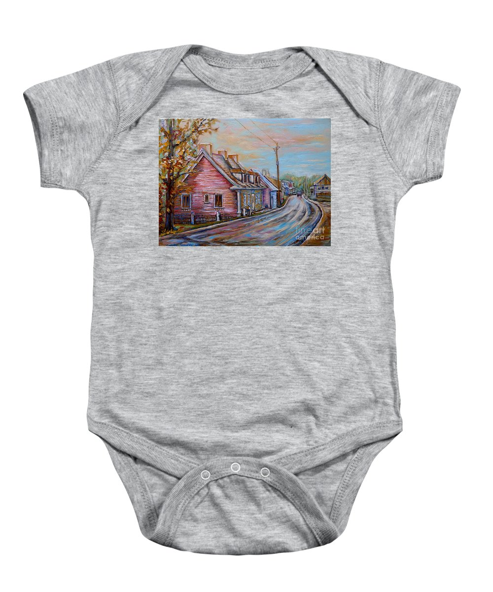 Ile D'orleans Baby Onesie featuring the painting Country Road Pink House by Carole Spandau