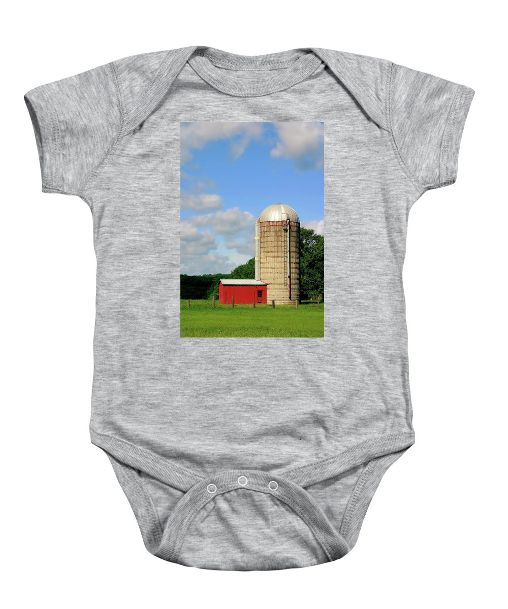 Farm Baby Onesie featuring the photograph Country Silo by Karol Livote