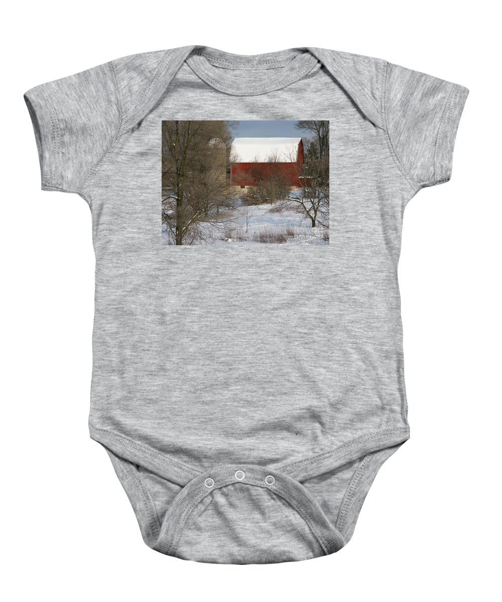 Winter Baby Onesie featuring the photograph Country Winter by Ann Horn