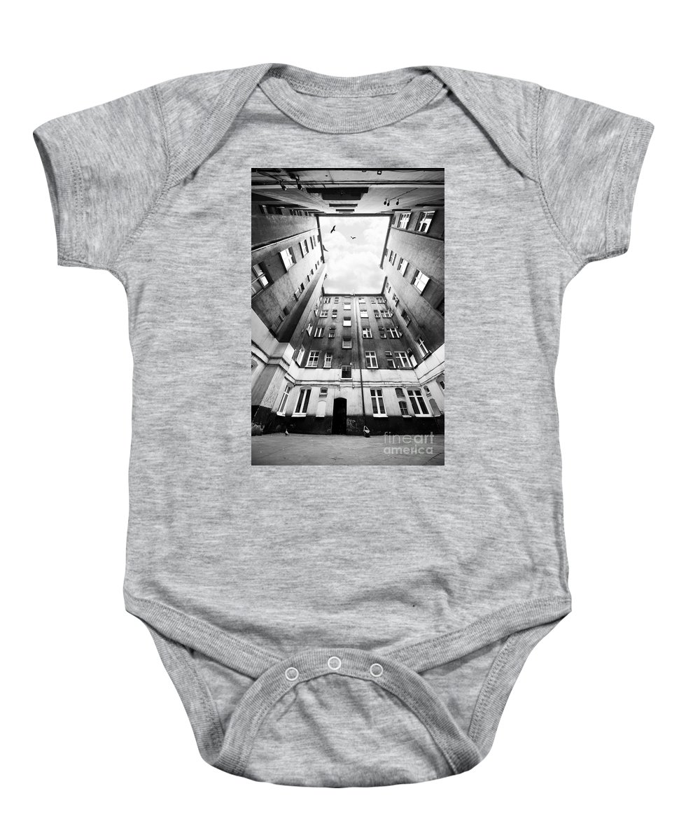 Courtyard Baby Onesie featuring the photograph Courtyard In Black And White by Jaroslaw Blaminsky