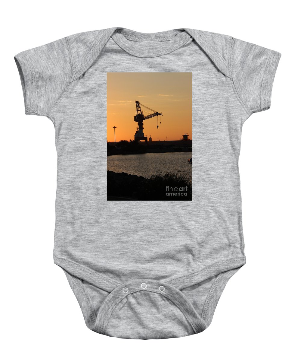 San Diego Bay Navy Base Crane Sunset Baby Onesie featuring the photograph Crane by RJ Aguilar
