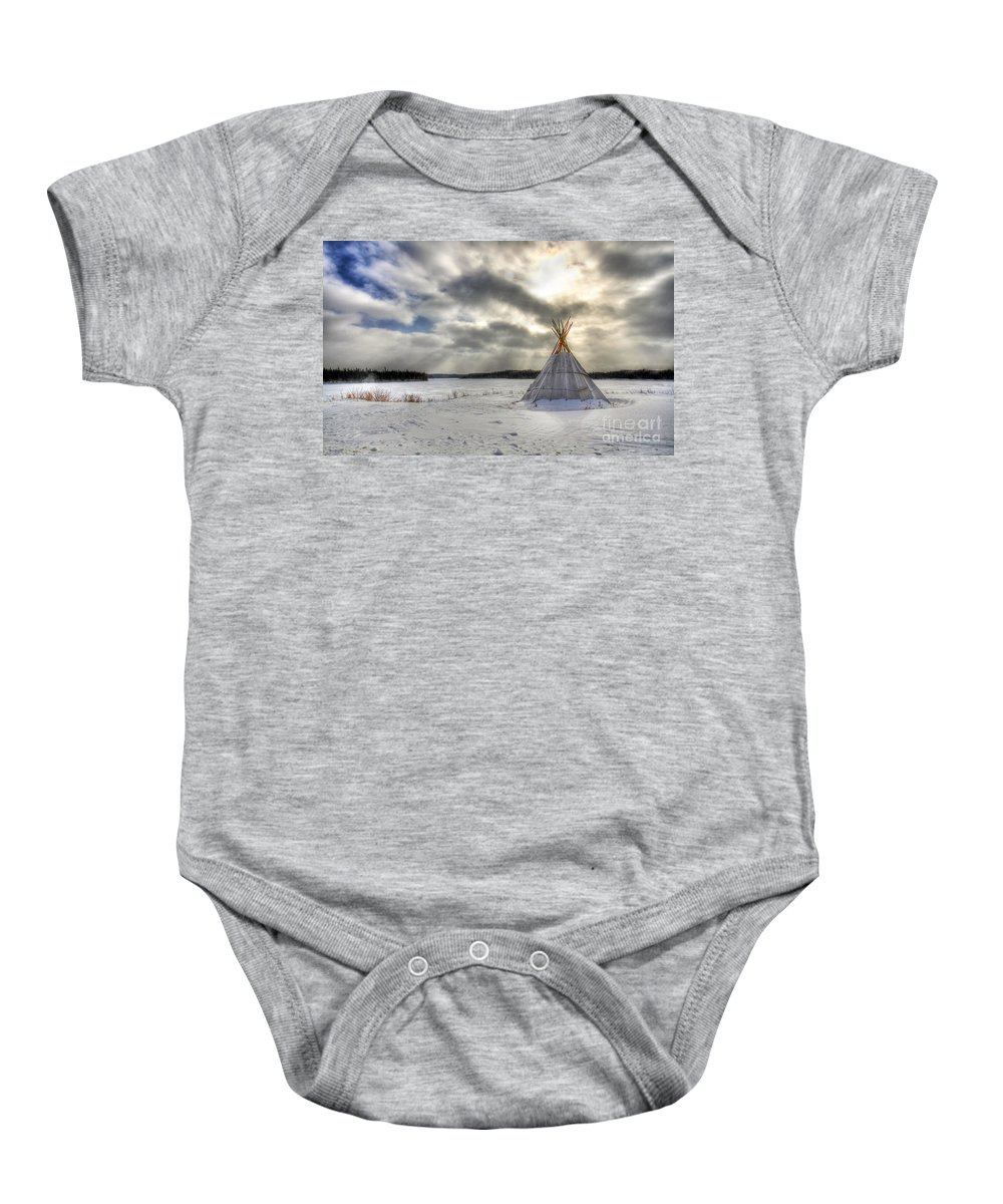 Cree Baby Onesie featuring the photograph Cree Tepee by Mircea Costina Photography