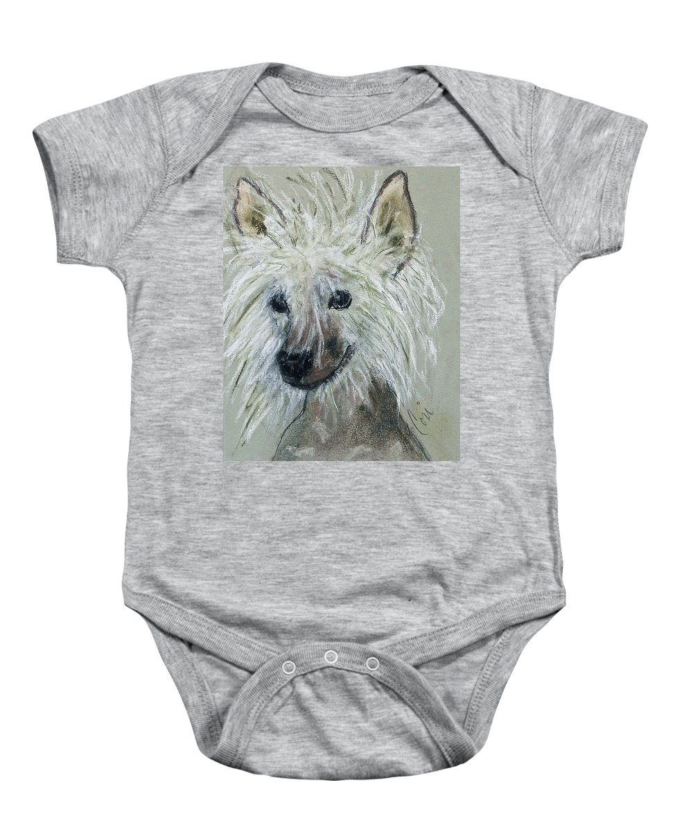 Chinese Crested Baby Onesie featuring the drawing Crested Star by Cori Solomon