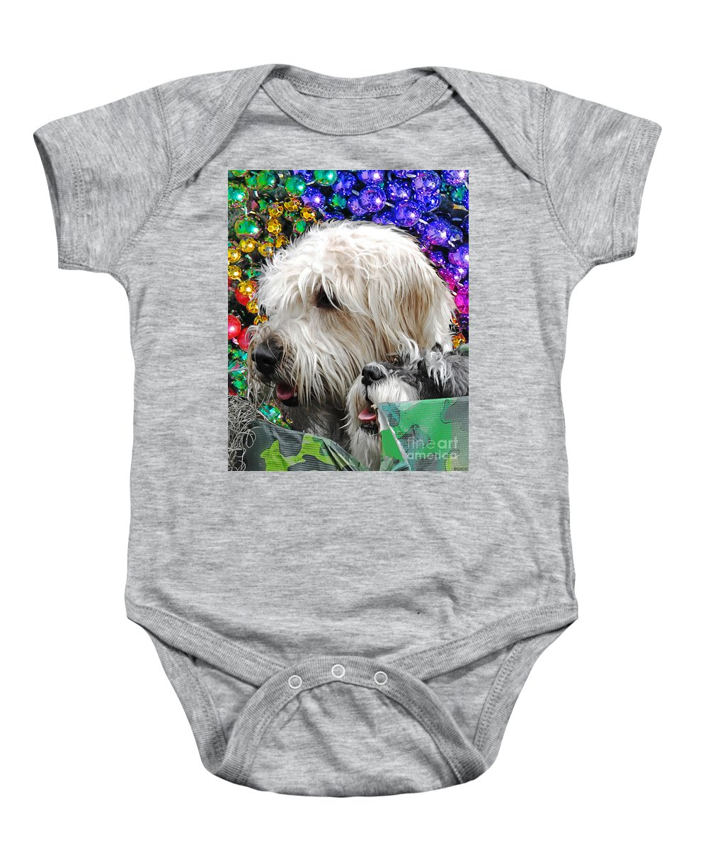 Dogs Baby Onesie featuring the digital art Crewe Of Mutts Mardi Gras Parade Baton Rouge Doggies by Lizi Beard-Ward