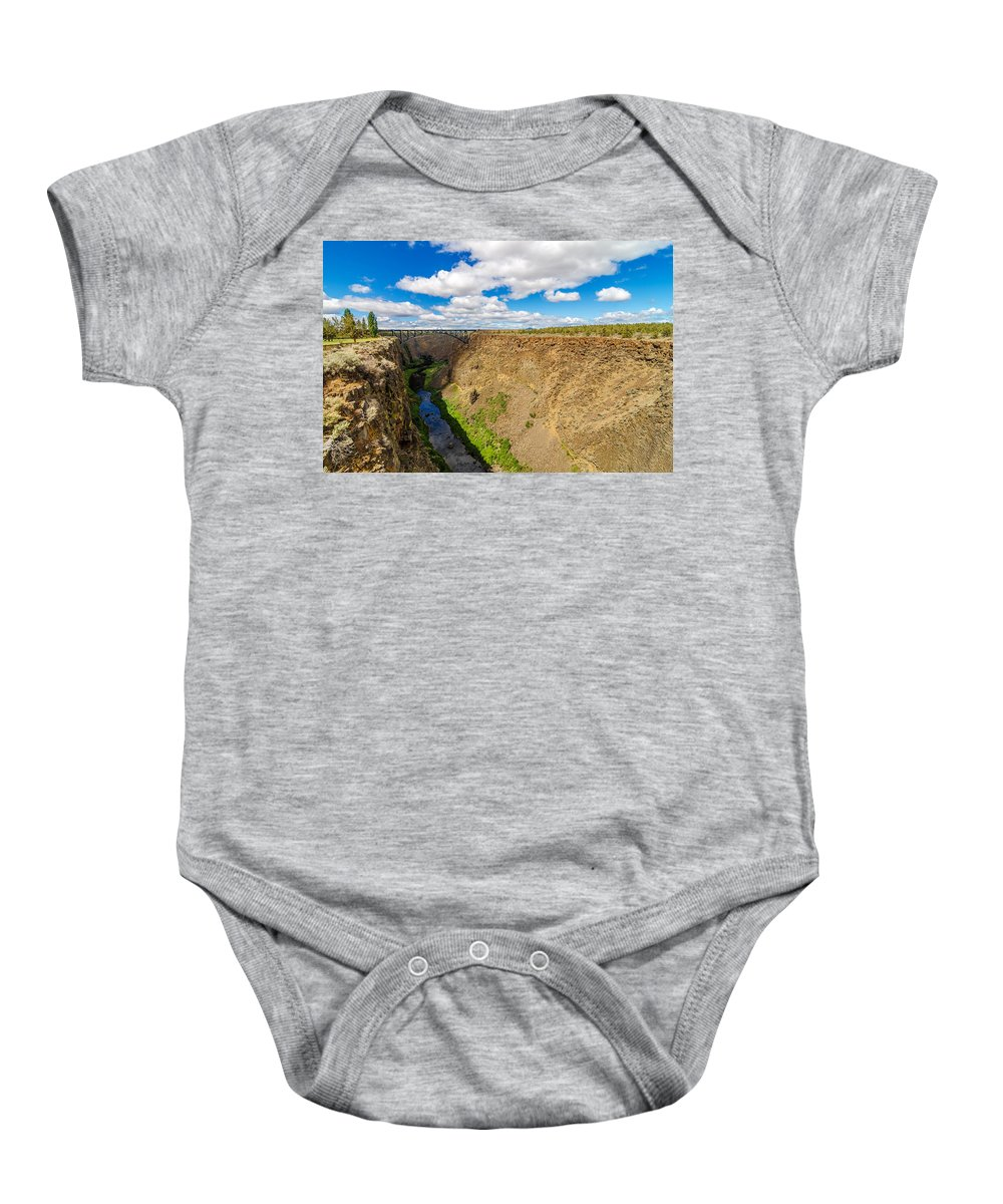 Bridge Baby Onesie featuring the photograph Crooked River Canyon And Bridge by Jess Kraft