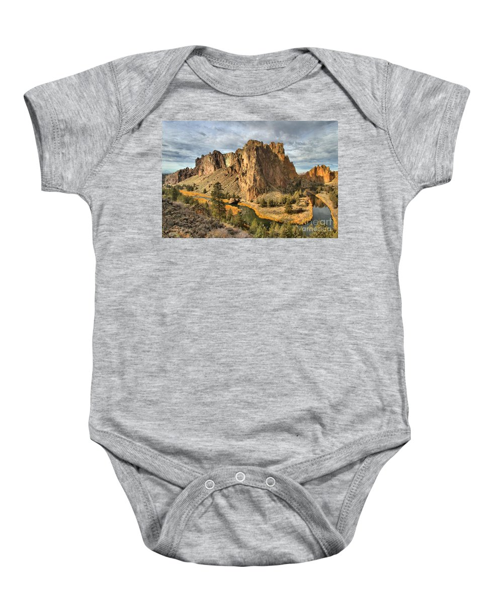 Smith Rock Baby Onesie featuring the photograph Crooked River Towers by Adam Jewell