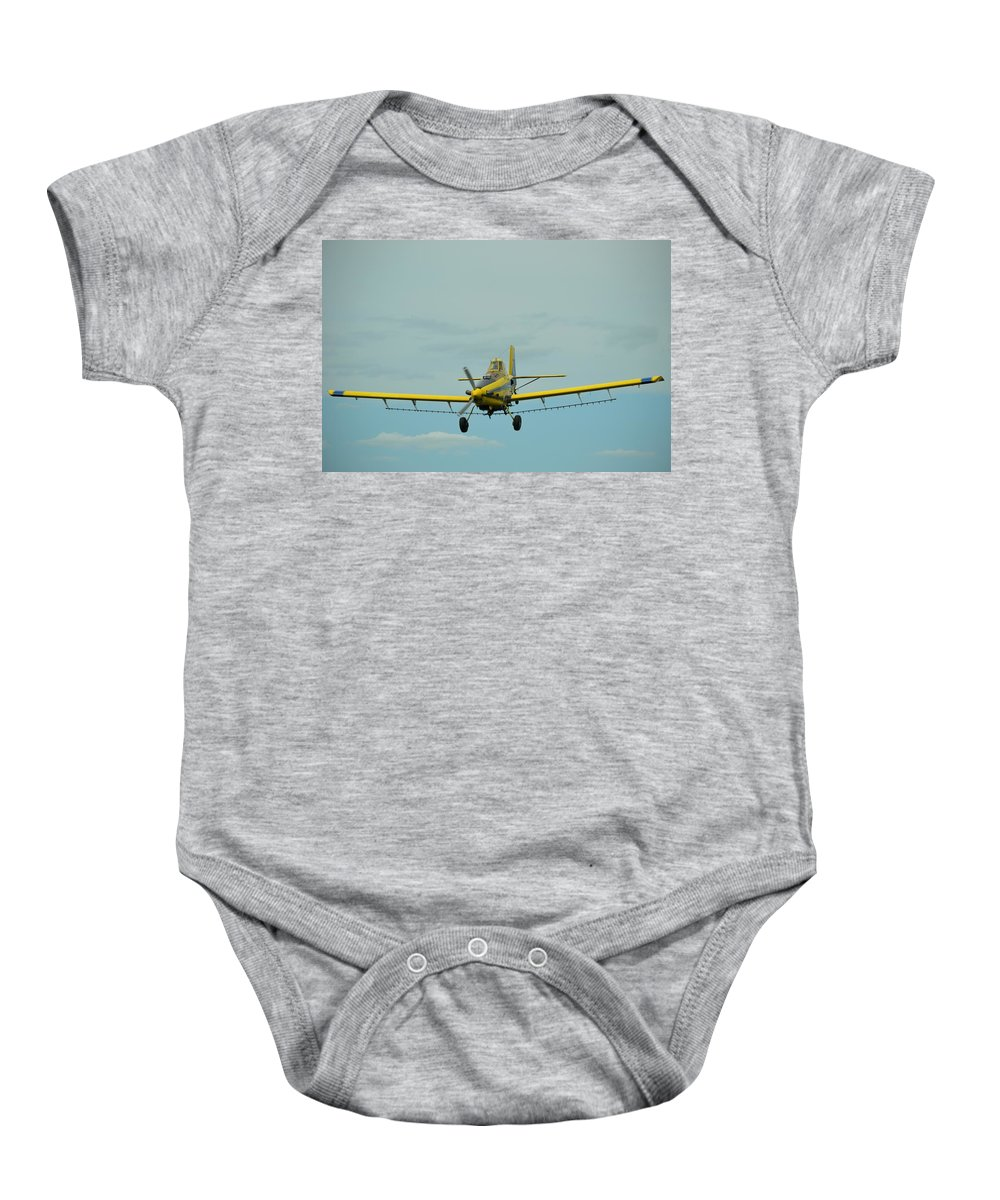 Yellow Baby Onesie featuring the photograph Crop Dusting 9002 by Bonfire Photography