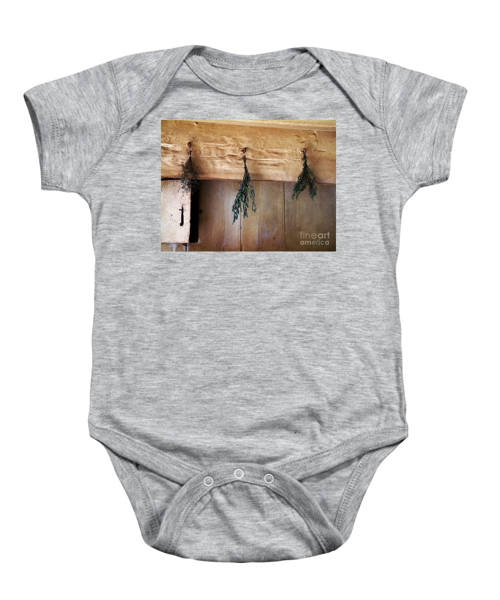 Herbs Baby Onesie featuring the painting Crossbeam With Herbs Drying by RC DeWinter