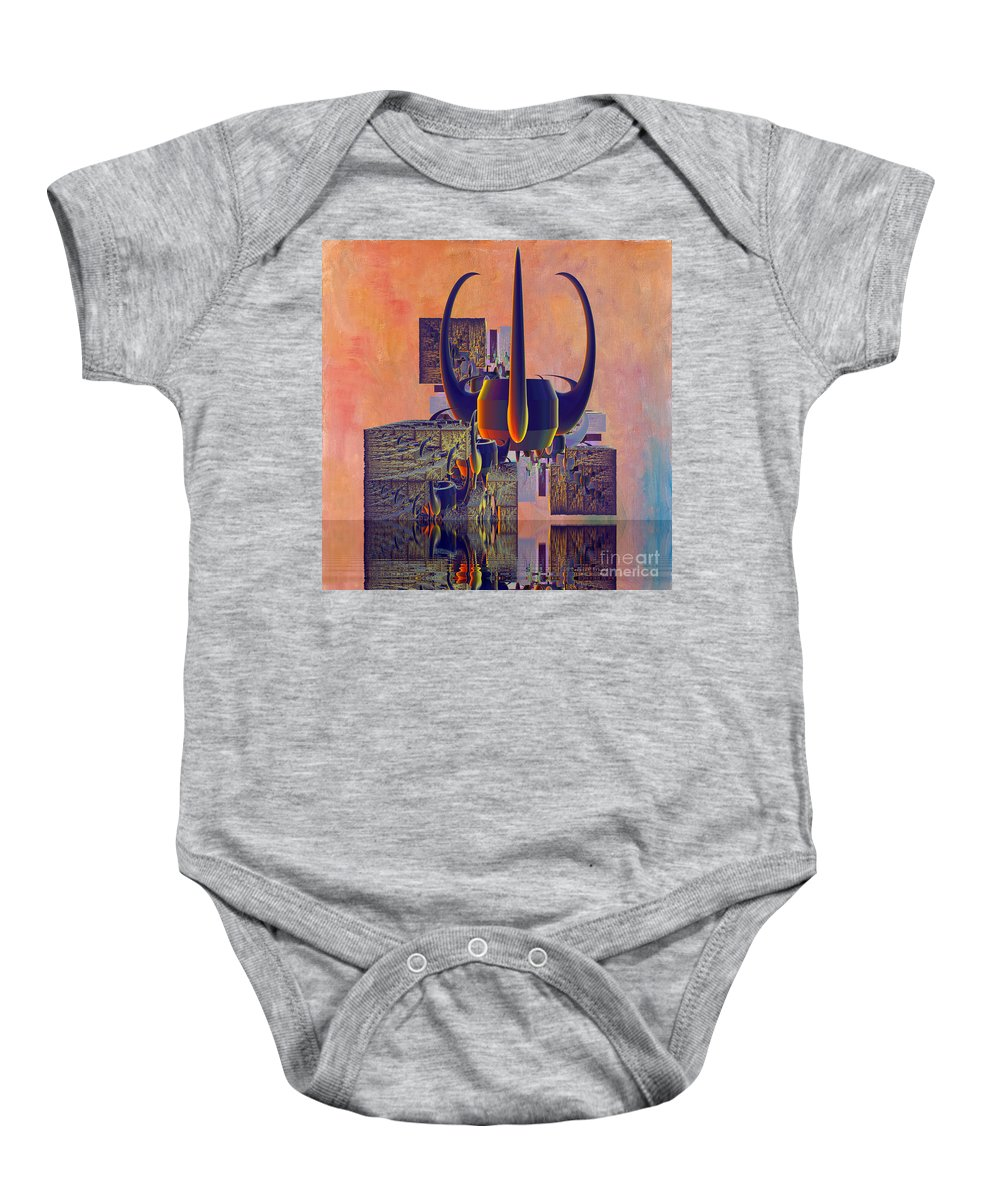 Digital Crown Baby Onesie featuring the digital art Crown 127 by Deborah Benoit