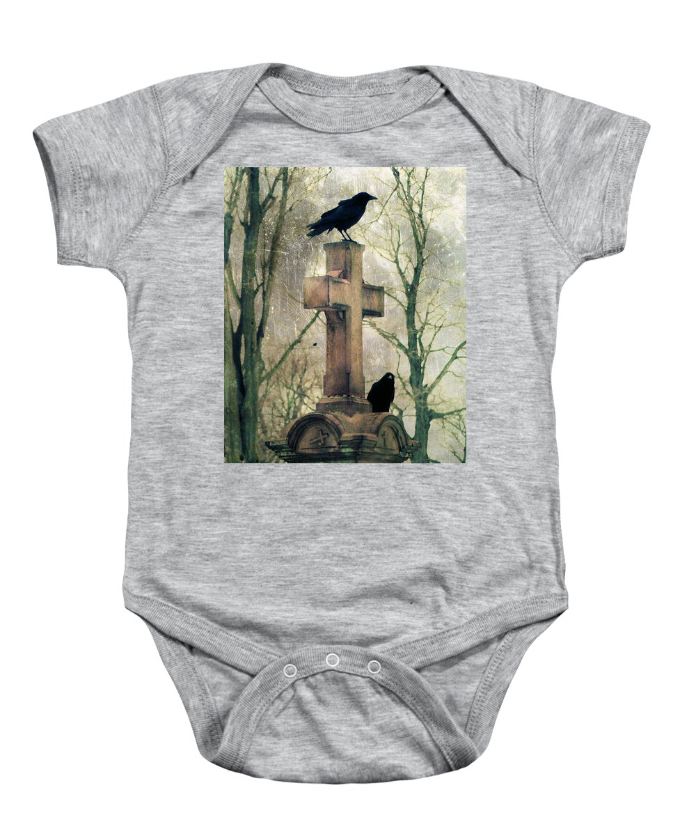 Birds Baby Onesie featuring the photograph Urban Graveyard Crows by Gothicrow Images