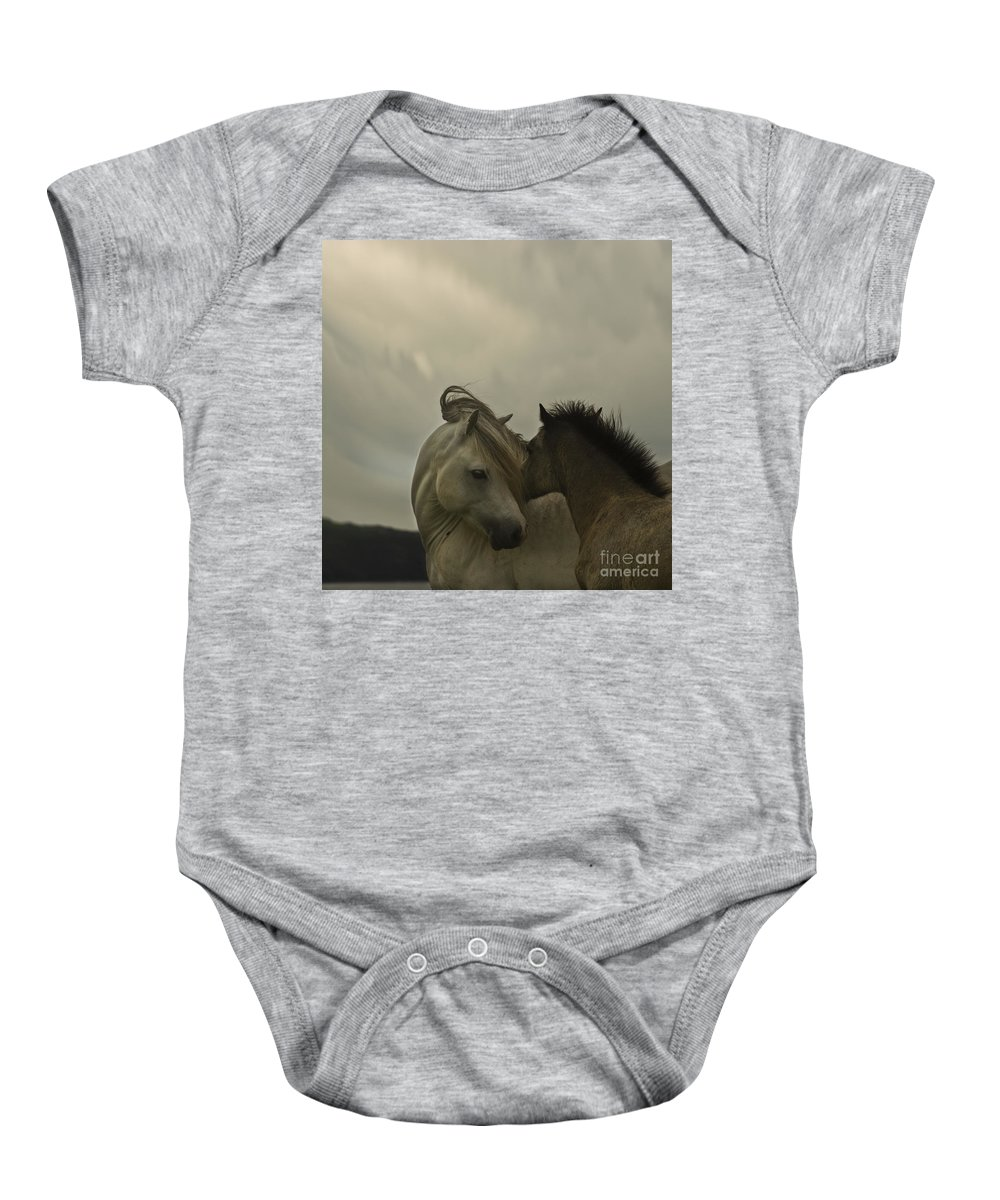 Horses Baby Onesie featuring the photograph Cuddle Me by Angel Ciesniarska