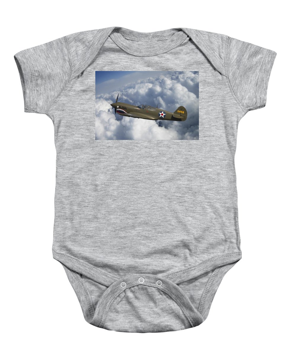 3scape Photos Baby Onesie featuring the photograph Curtiss P-40 Warhawk Flying Tigers by Adam Romanowicz
