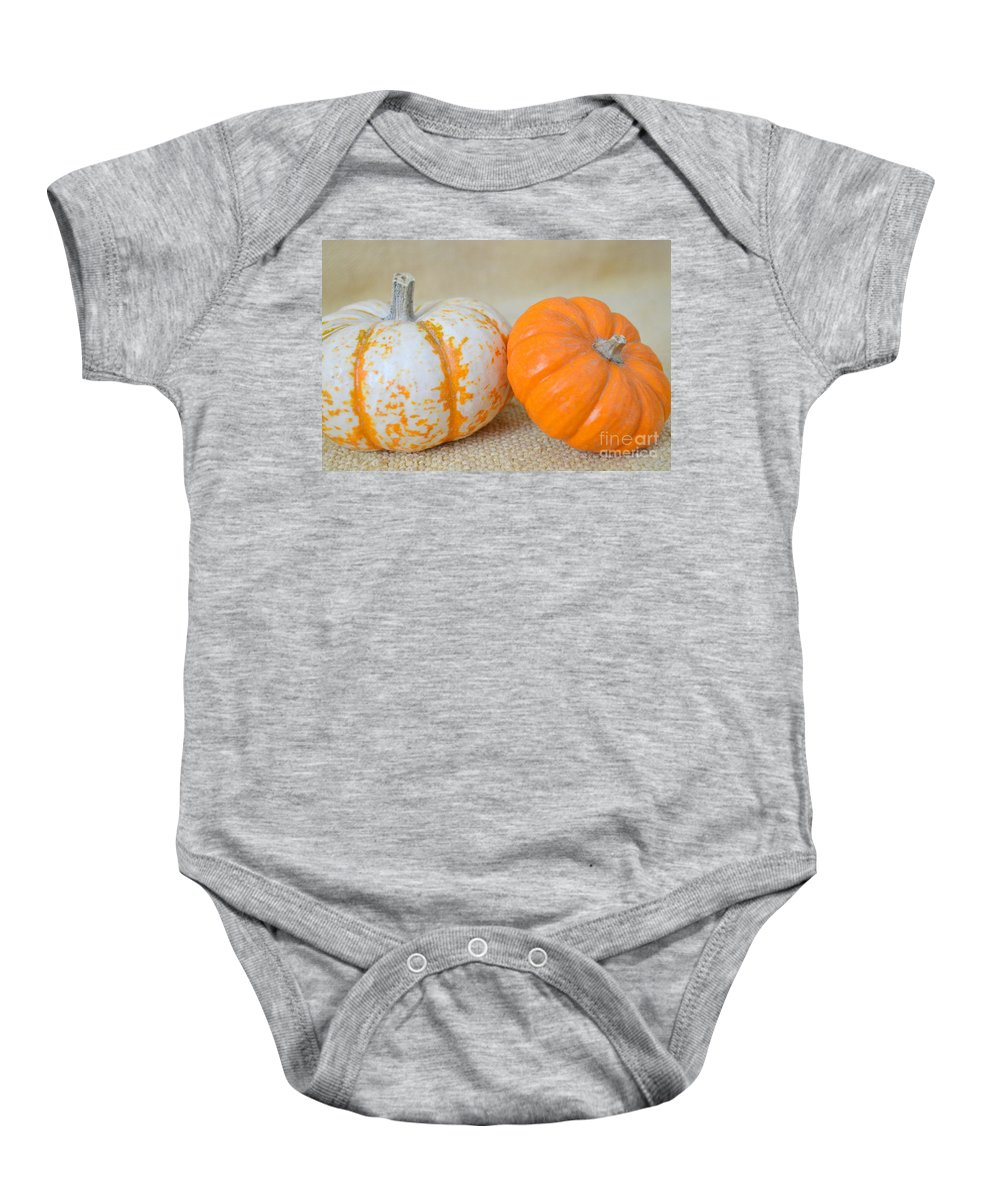 Pumpkin Baby Onesie featuring the photograph Daisy Gourd And Pumpkin by Mary Deal