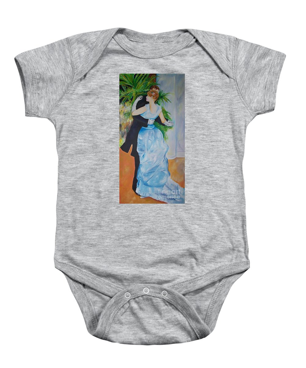Lavender Baby Onesie featuring the painting Dance In The City by Eric Schiabor