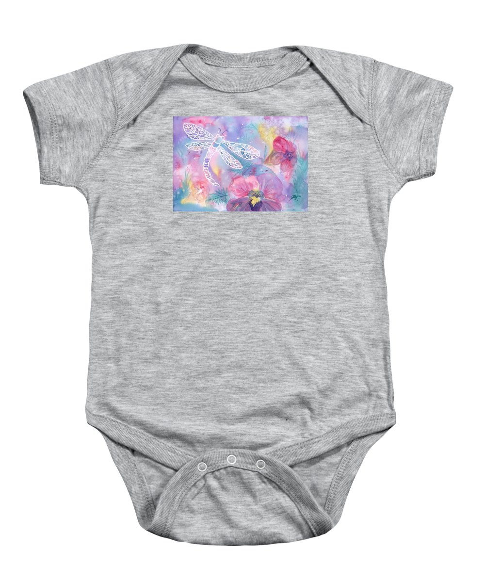 Dragonfly Baby Onesie featuring the painting Dance Of The Dragonfly by Ellen Levinson