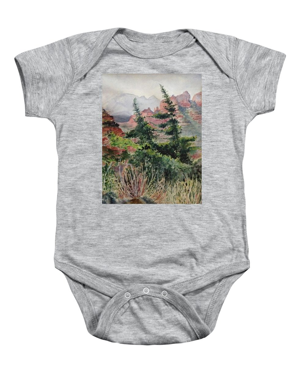 Mountains Baby Onesie featuring the painting Dancing Trees by Kathy Sievering