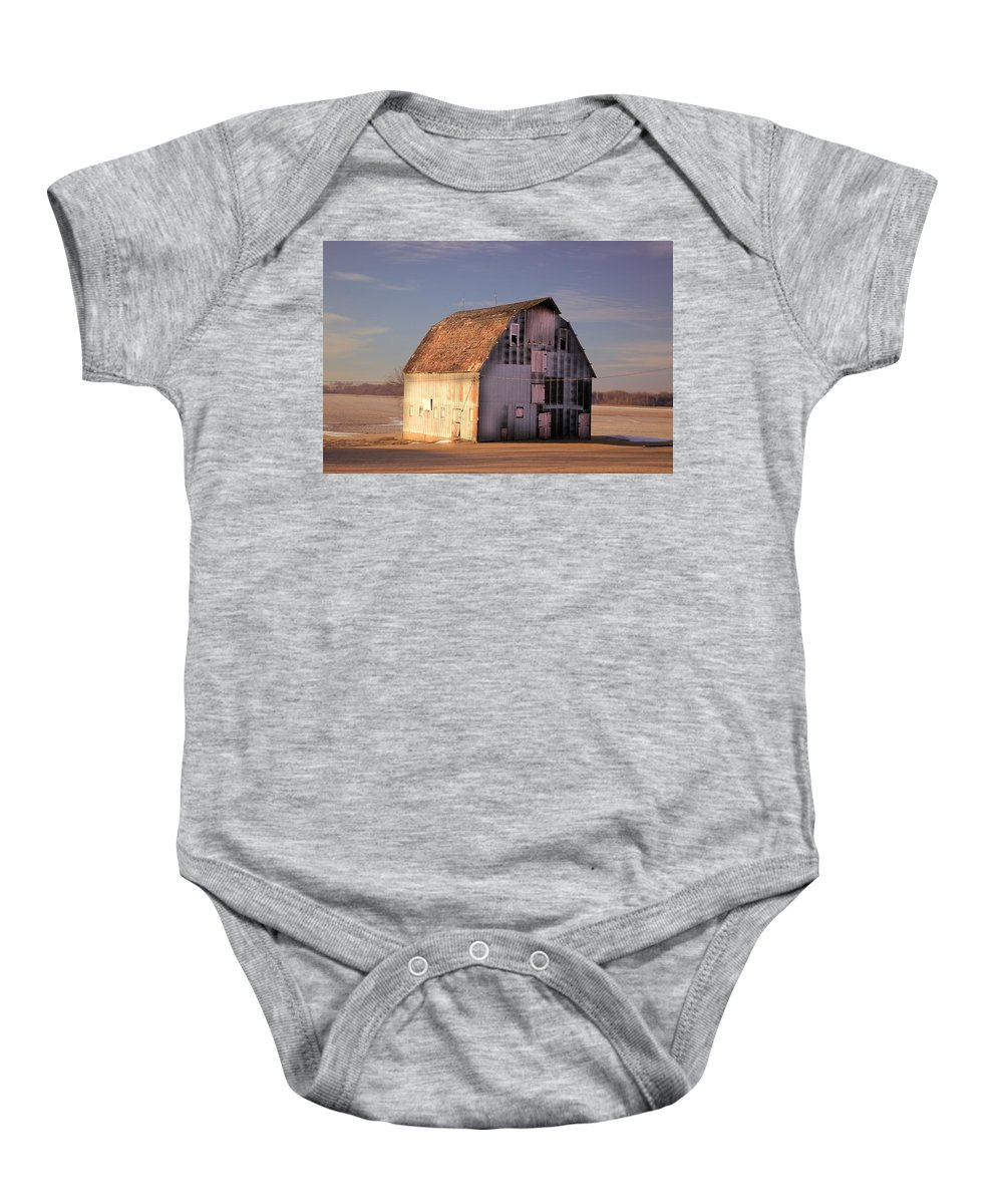 Rustic Baby Onesie featuring the photograph Dapple Barn by Bonfire Photography
