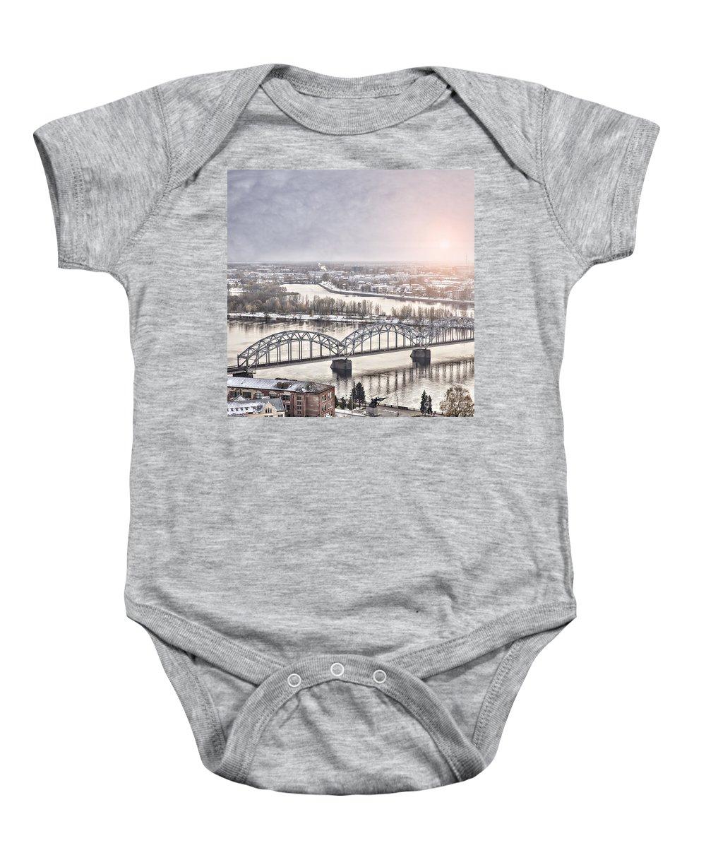 River Baby Onesie featuring the photograph Daugava Railway Bridge by Sophie McAulay