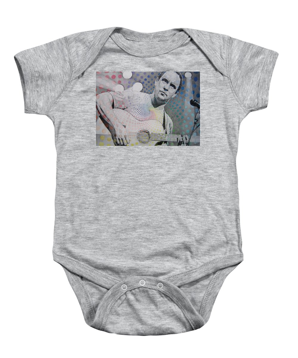 Dave Matthews Baby Onesie featuring the drawing Dave Matthews All The Colors Mix Together by Joshua Morton