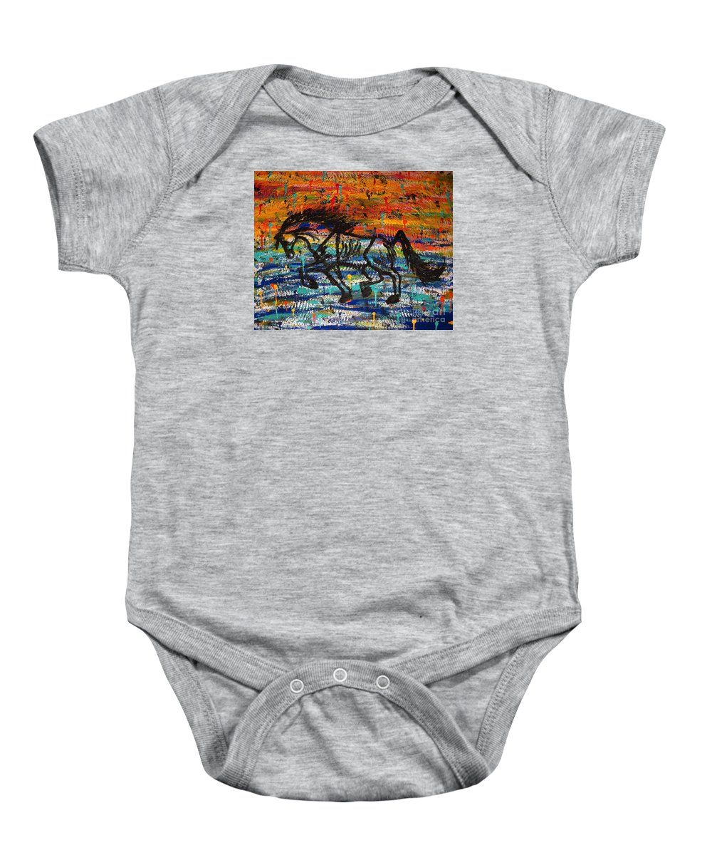 Horse Baby Onesie featuring the painting Day Dreaming In The Rain by Elizabeth Harshman