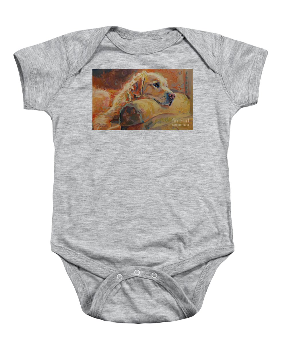 Golden Retriever Baby Onesie featuring the painting Daydream by Kimberly Santini
