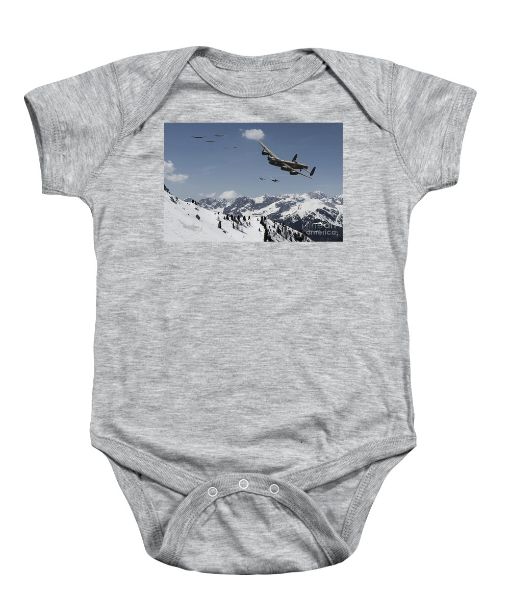 Lancaster Bomber Baby Onesie featuring the digital art Daylight Raid by J Biggadike