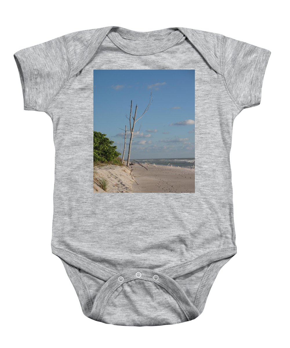 Tree Baby Onesie featuring the photograph Dead Trees At The Seaside by Christiane Schulze Art And Photography