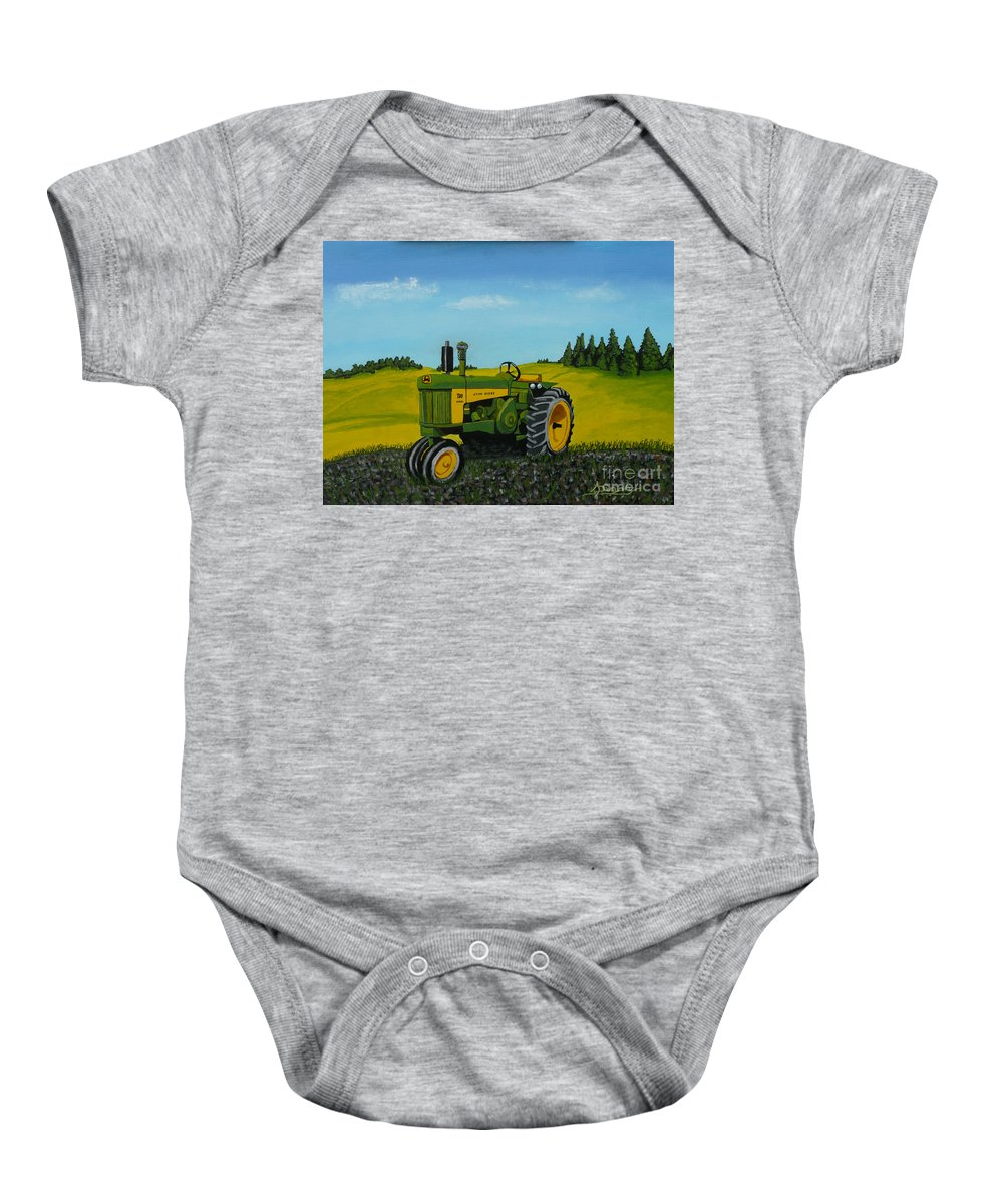 John Deere Baby Onesie featuring the painting Dear John by Anthony Dunphy
