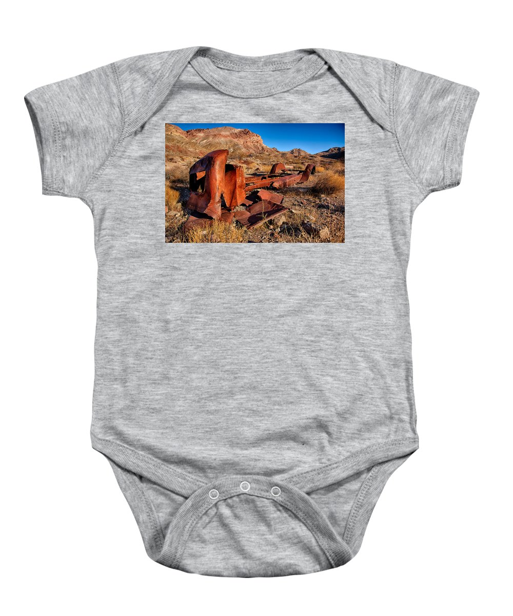 Baby Onesie featuring the photograph Death Valley Truck by Peter Tellone