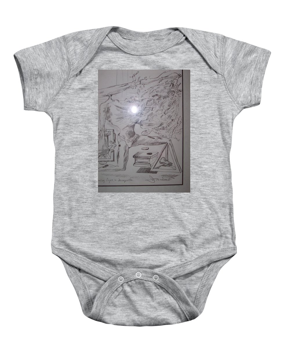 Baby Onesie featuring the painting Decomposition Of Kneeling Man by Jude Darrien