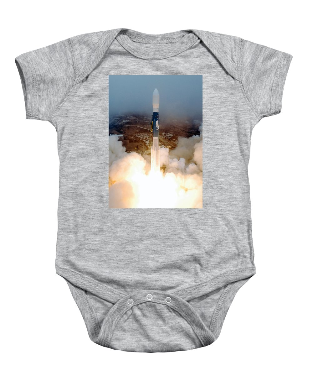 Astronomy Baby Onesie featuring the photograph Delta II Rocket Taking Off by Science Source