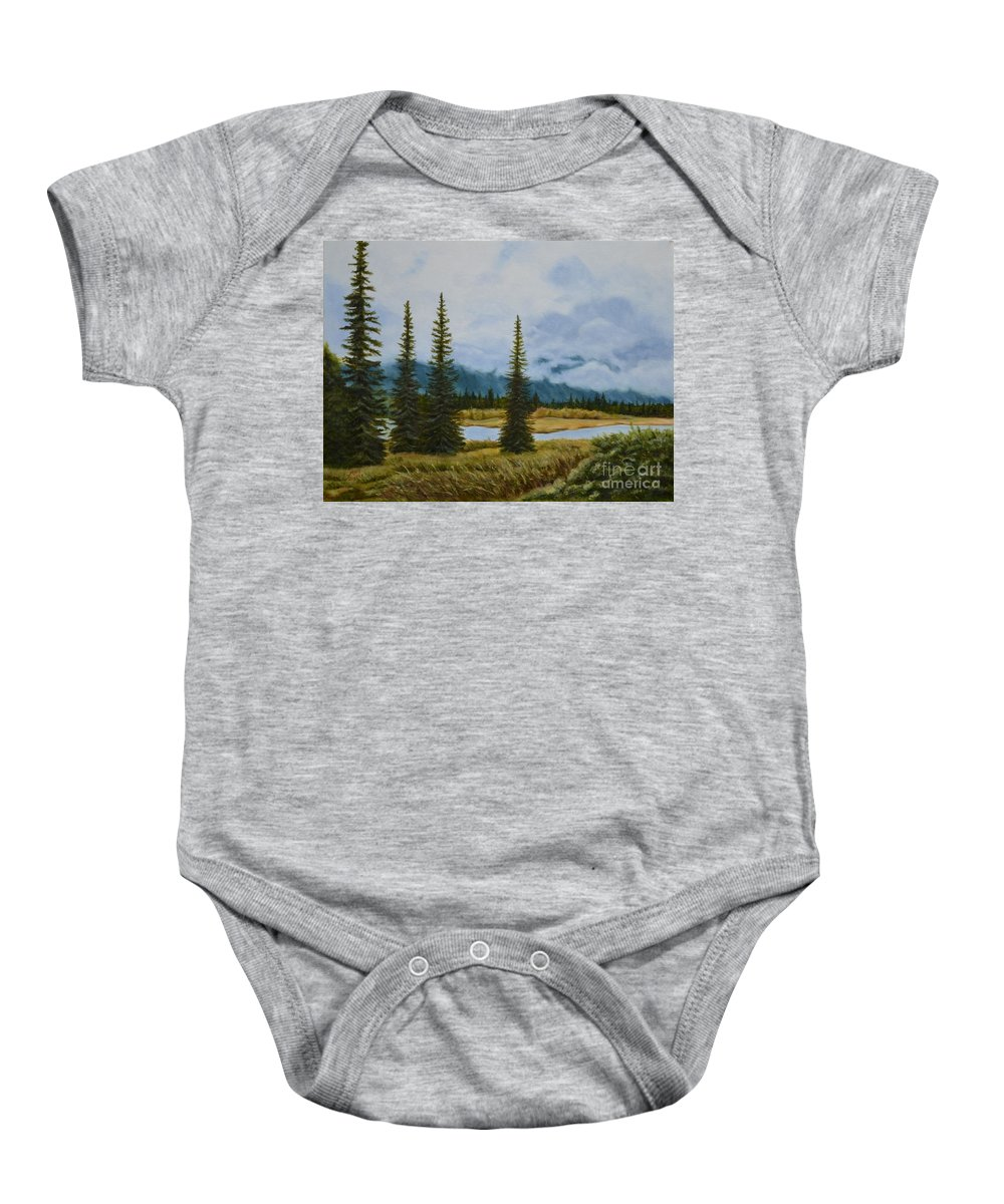 Usa Baby Onesie featuring the painting Denali Morning by Mary Rogers